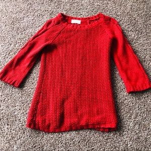 Cozy red sweater with a back slit